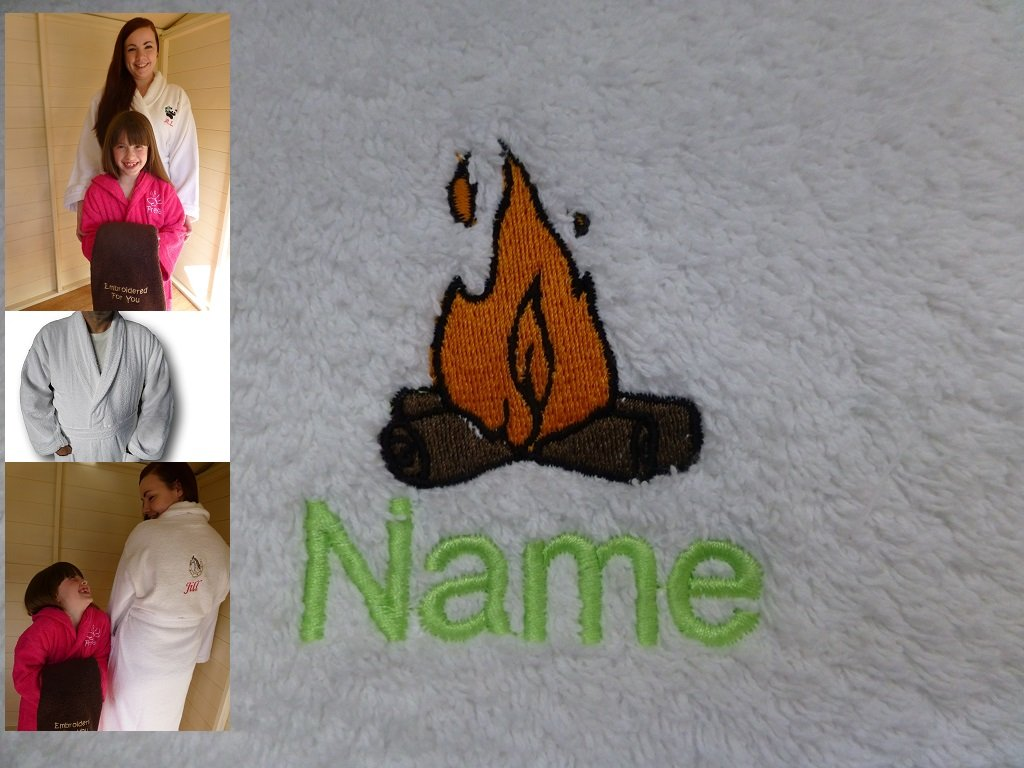 Adult Bath Robe with a LOG FIRE Logo and Name of your choice in White, Size Medium, Large, XLarge or XXLarge (XLarge)