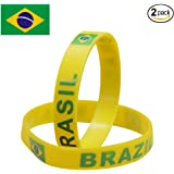 IDL World Cup Silicone Bracelet, 2018 Russian World Cup Sports, Flag Bracelet | 2-Piece Set | 32 Countries Available | Unisex Design, Soft and Durable Wristbands for Sports Fans