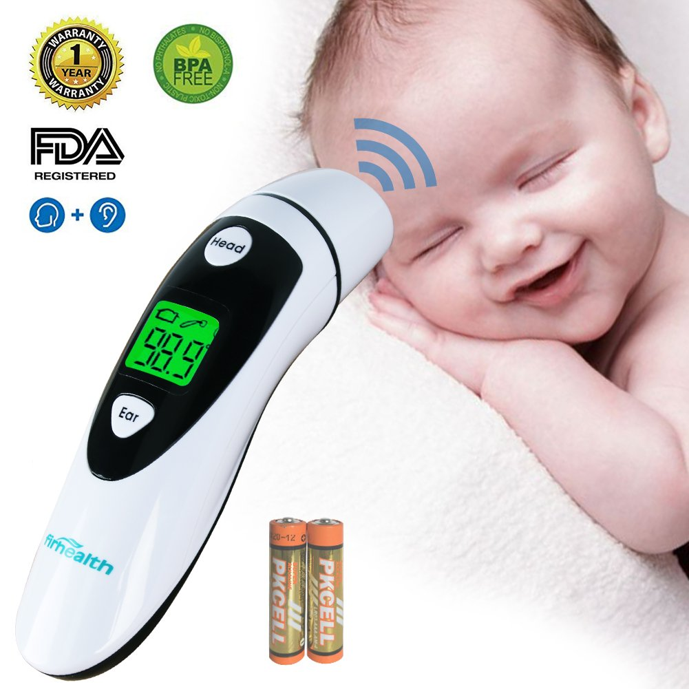 Baby Thermometer, Medical Forehead and Ear Thermometer/Infrared Digital Thermometer Suitable for Baby, Infant, Toddler, Kid and Adults with FDA and CE Approved