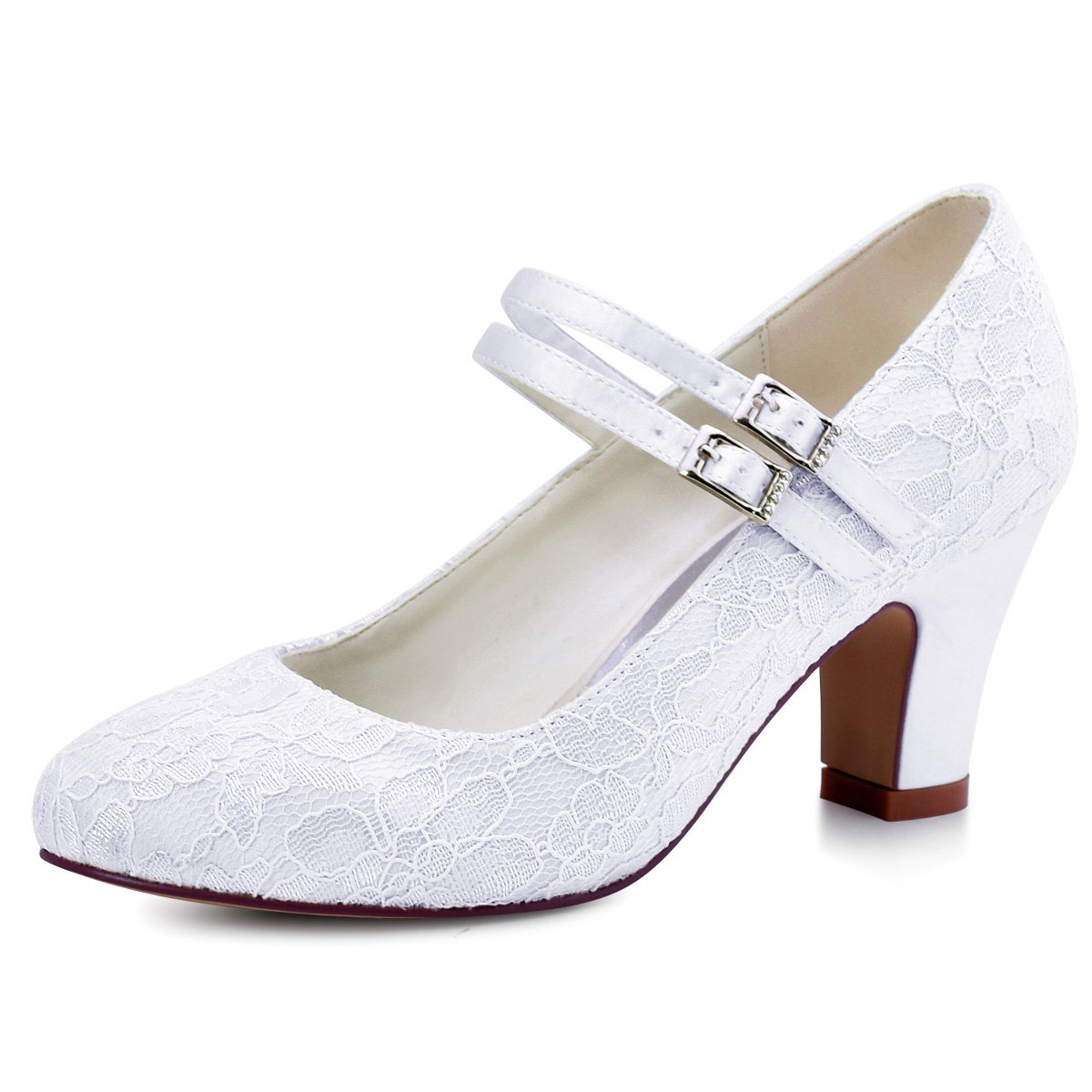 ElegantPark HC1708 Women Mary Jane Block Heel Pumps Closed Toe Lace Bridal Wedding Shoes White US 9