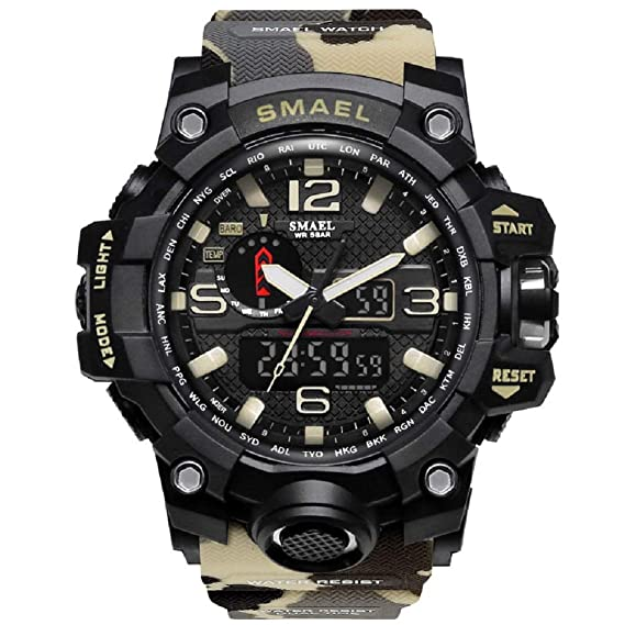 2576e2fa359 KXAITO Men s Sports Outdoor Waterproof Military Watch Date Multi Function  Tactics LED Alarm Stopwatch (Camo Beige