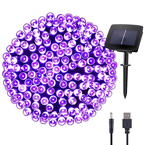 Hopolon Solar String Lights Outdoor Waterproof 72ft 200LED for Patio, Lawn,Garden, Home, Wedding, Holiday, Christmas Party, Xmas Tree Decoration,Waterproof/Timer/USB Charge (Purple)