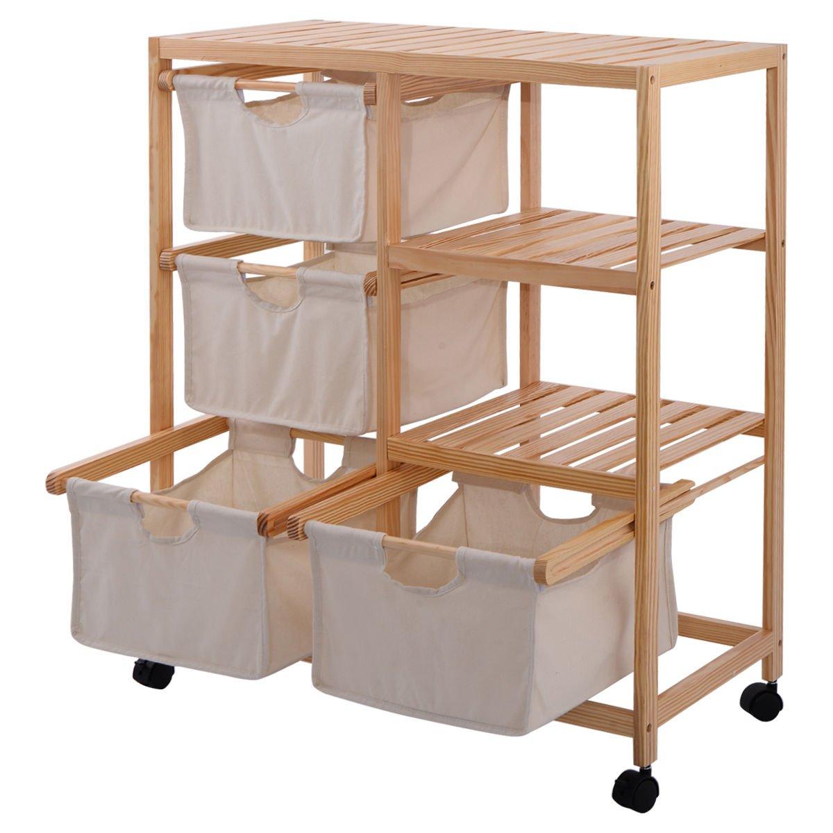 AyaMastro 6-Section Wood Hamper Storage Shelve w/ 4 Fabric Drawer & 2 Open Shelf with Ebook