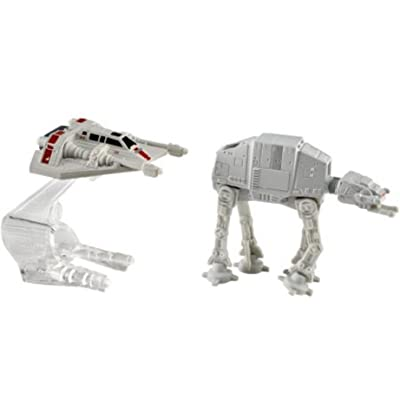 Hot Wheels Star Wars Starship 2-Pack, Snowspeeder (Orange) vs. AT-AT: Toys & Games