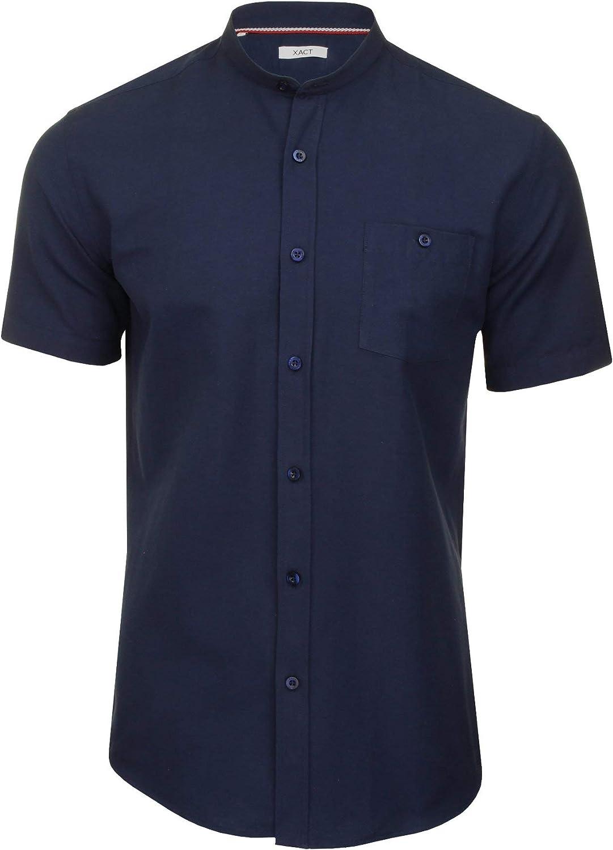 Xact Hombres Camisa Oxford Cuello abuelo manga corta