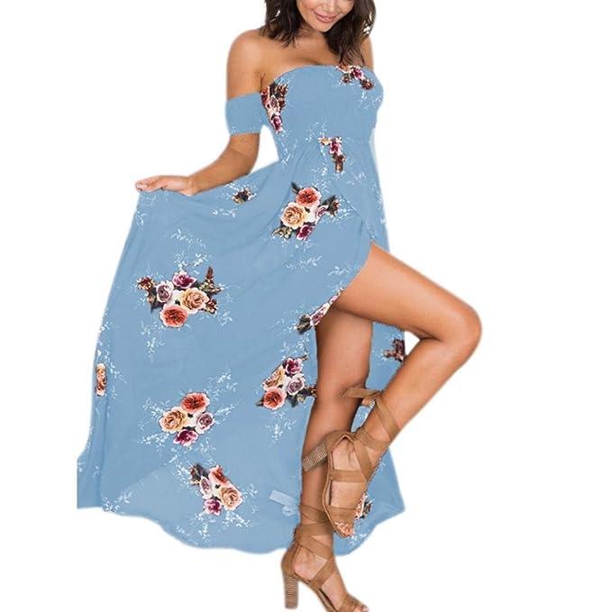 bc5ecd8e6df0c9 Damenkleider Sommer, Dasongff Sommerkleid Damen Lang Maxikleid Schulterfrei  Gedruckt Abendkleid Cocktailkleid Party Kleid Elegant Minikleid  Strandkleid: ...