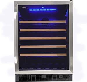 Silhouette SWC057D1BSS Built In Wine Cooler, Under Counter Wine Chiller In Stainless Steel Look - For Kitchen, Home Bar