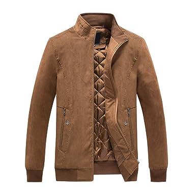 Hombre Casual Chaqueta Jacket Cazadora Mangas Largas Cierre De Cremallera Outwear Tops Plus Size Collar De Pie Cremallera Cazadora Chaqueta De Béisbol ...