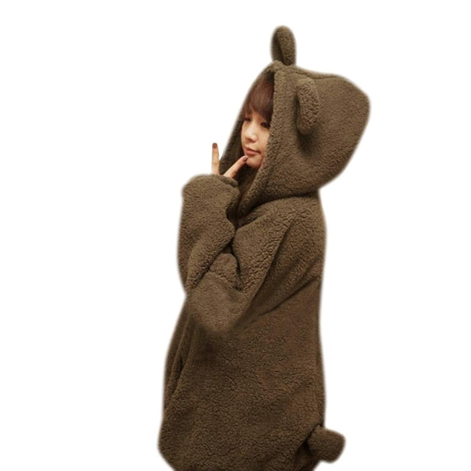 Transer Women Gardigan Hoodies Girl Winter Loose Fluffy Bear Ear Hoodie Jacket