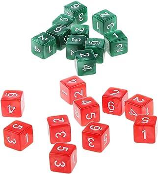 P Prettyia 20 Unids Dados D6 Juego de Mesa para Niños Amigos - Verde y Rojo: Amazon.es: Juguetes y juegos