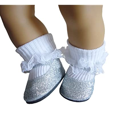 Silver Glitter Shoes & Lace Trim Socks for Bitty Baby by Doll Clothes Sew Beautiful: Toys & Games