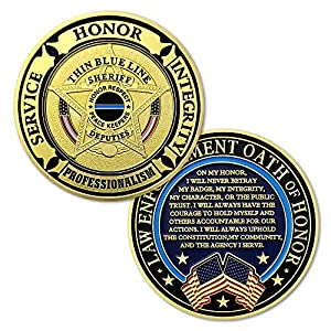 Sheriff Challenge Coin Thin Blue Line Police Prayer Coin by FunYan