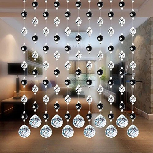 Kanzd Crystal Glass Bead Curtain Luxury String Tassel Curtain Living Room Door Wedding Decor (E2) (E)