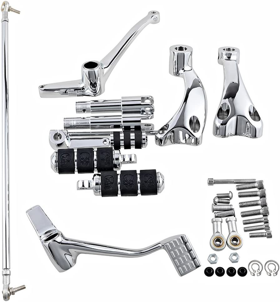 2004-2013 Complete Set Peg Lever Linkages Mounting Hardware Chrome Forward Controls Kit Compatible with Harley Sportster XL883 XL1200 Selected Model