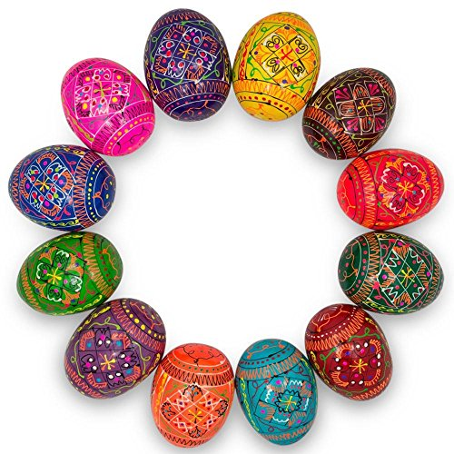 (Set of 12 Hand Painted Wooden Pysanky Ukrainian Easter Eggs 2.5)