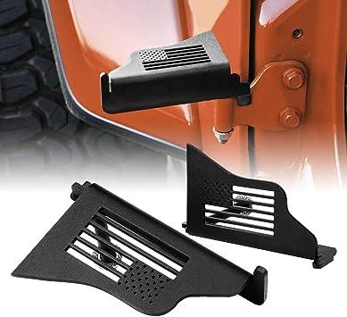 Black Pair USA Style Allinoneparts 2007-2018 Jeep Wrangler JK JKU Foot Pegs Foot Rest Door Hinge Door Off