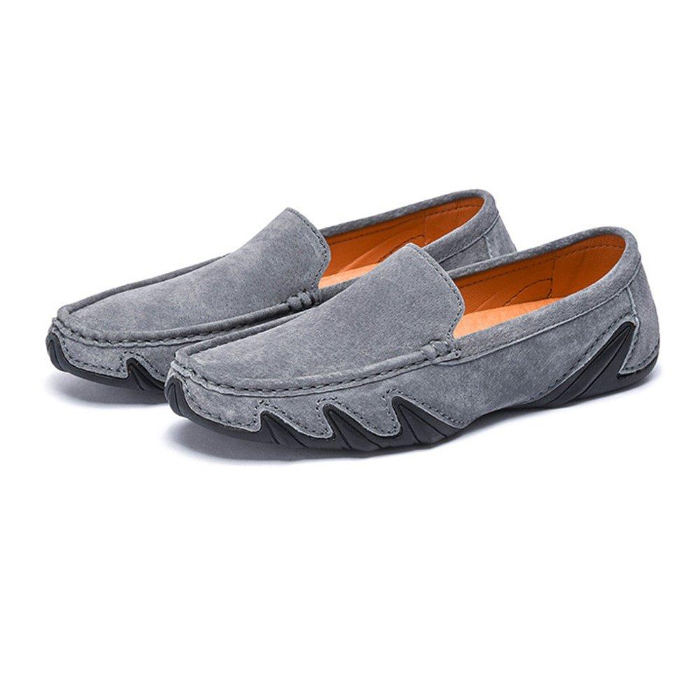 Shufang schuhe 2018 Herren Mokassins Leichte Schuhe, Männer Fahren Penny Leichte Mokassins Mokassins Echtes Leder Weiche Gummisohle Boot Loafers (Farbe : Khaki, Größe : 39 EU) Grau 1ca5f7