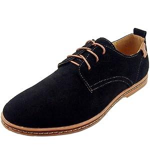Dadawen Men's Black Leather Oxford Shoe - 9 D(M) US