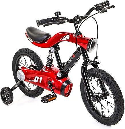 Bicicletas Para Niños Ejercicio Baby Balance Car, Bicicleta de Carretera de Montaña de 14/16 Pulgadas Con Música Ligera Con Rueda Auxiliar Estable,Red-16inch: Amazon.es: Hogar