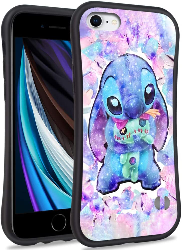 DISNEY COLLECTION iPhone SE(2020) Case, iPhone 8 Case, iPhone 7 Case, iPhone 6/6s Case Cartoon Cute Lilo Stitch Pattern Small Waist Design Hard PC Shield Soft TPU Bumper Shockproof Protective Cover