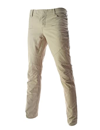 007e956a0b TheLees (TLP12) Mens Slim Fit Low Rise Slim Skinny Stretchy Washing Cotton  Pants Beige