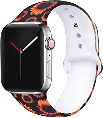 OriBear Floral Band Compatible with Apple Watch 44mm 42mm Women Soft Silicone Solid Pattern Printed Replacement Bands for iWatch Series 4/3/2/1 M/L ...
