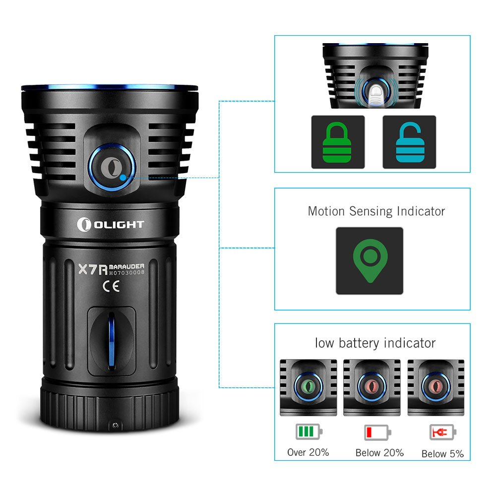 OLIGHT X7R Marauder USB TYPE-C rechargeable 12,000 Lumen LED flashlight/searchlight, 4 X 18650 rechargeable batteries with GrapheneFast battery case by OLIGHT (Image #4)