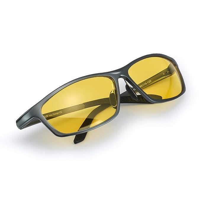 Myiaur Gafas Amarillas Rectangulares para Conducir de Noche Polarizadas Antideslumbrantes (gris, amarillo)