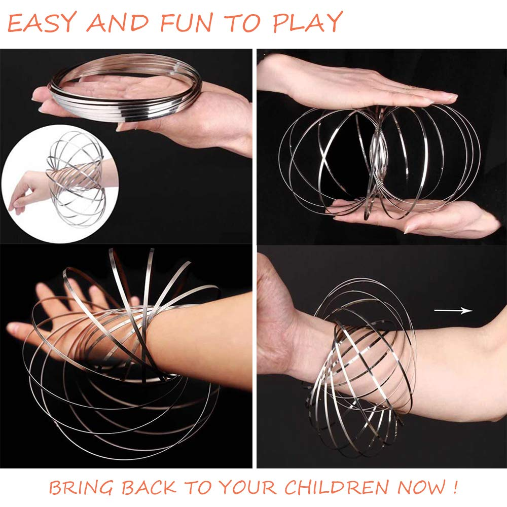Magic Flow Rings Amazing 3D Kinetic Sculpture Game Toy Relaxing Decompression Flowing Rings Festival And Rave Accessories (SLIVER & BLUE) by Magic Monster (Image #4)