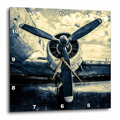 3dRose Abstracts of Aviation - Propeller of an Old Aircraft. Stylized Photo Wall Clock, 13 x 13