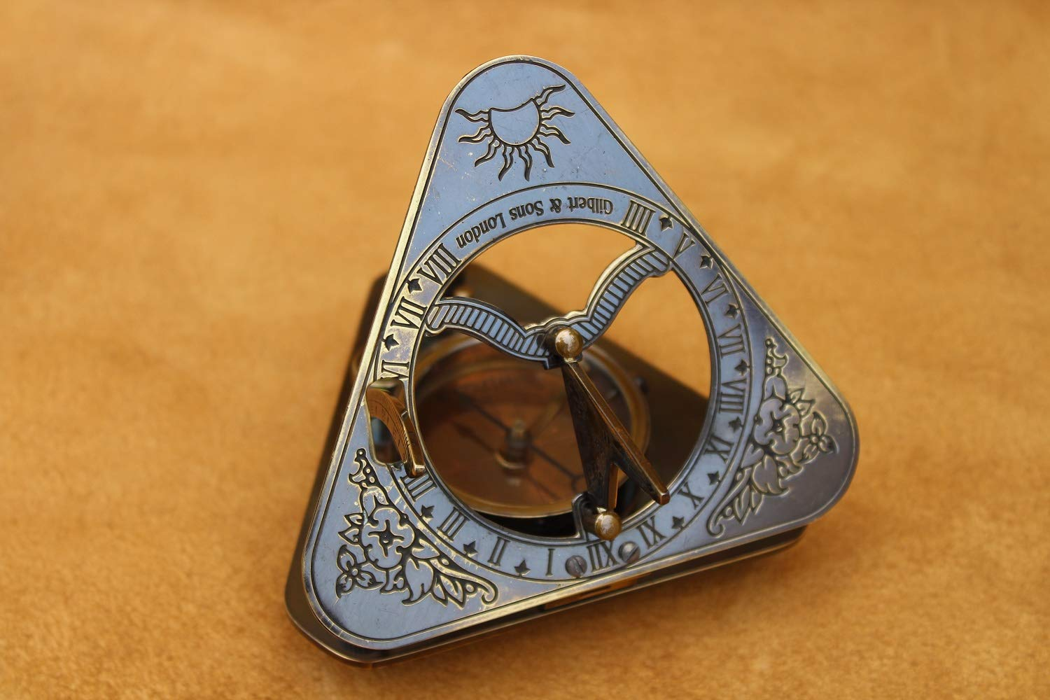 US Handicrafts History Brass Triangle Sundial Compass in Hardwood Box. by US Handicrafts (Image #2)