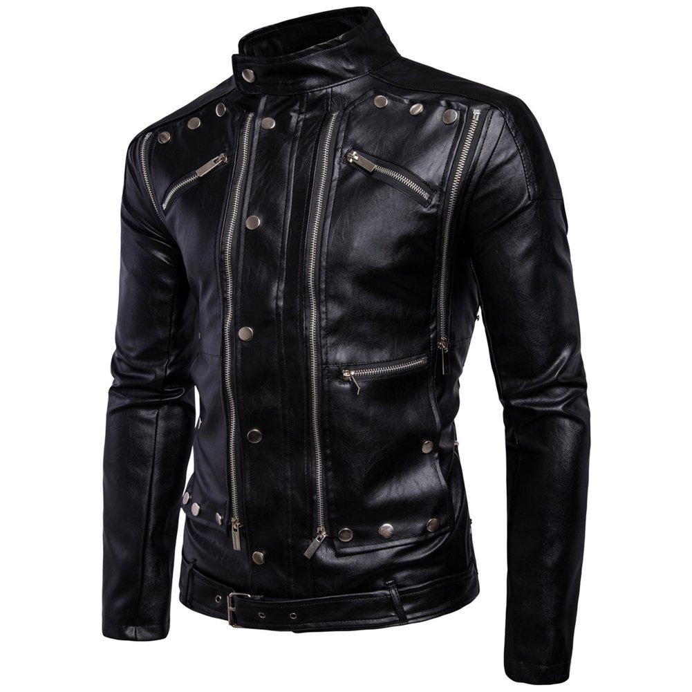 Homme Blouson Veste Motard en Cuir Noir Courte Zipper De Moto Manteau PU   Amazon.fr  Vêtements et accessoires 9ab6a4b172b