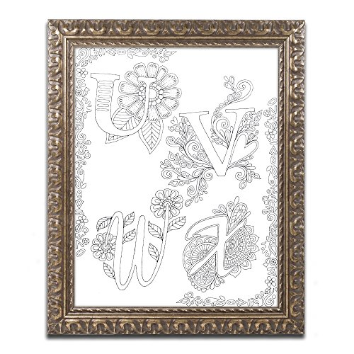Trademark Fine Art u0022Letters and Words 29u0022 Canvas Art by Hello Angel, Gold Ornate Frame