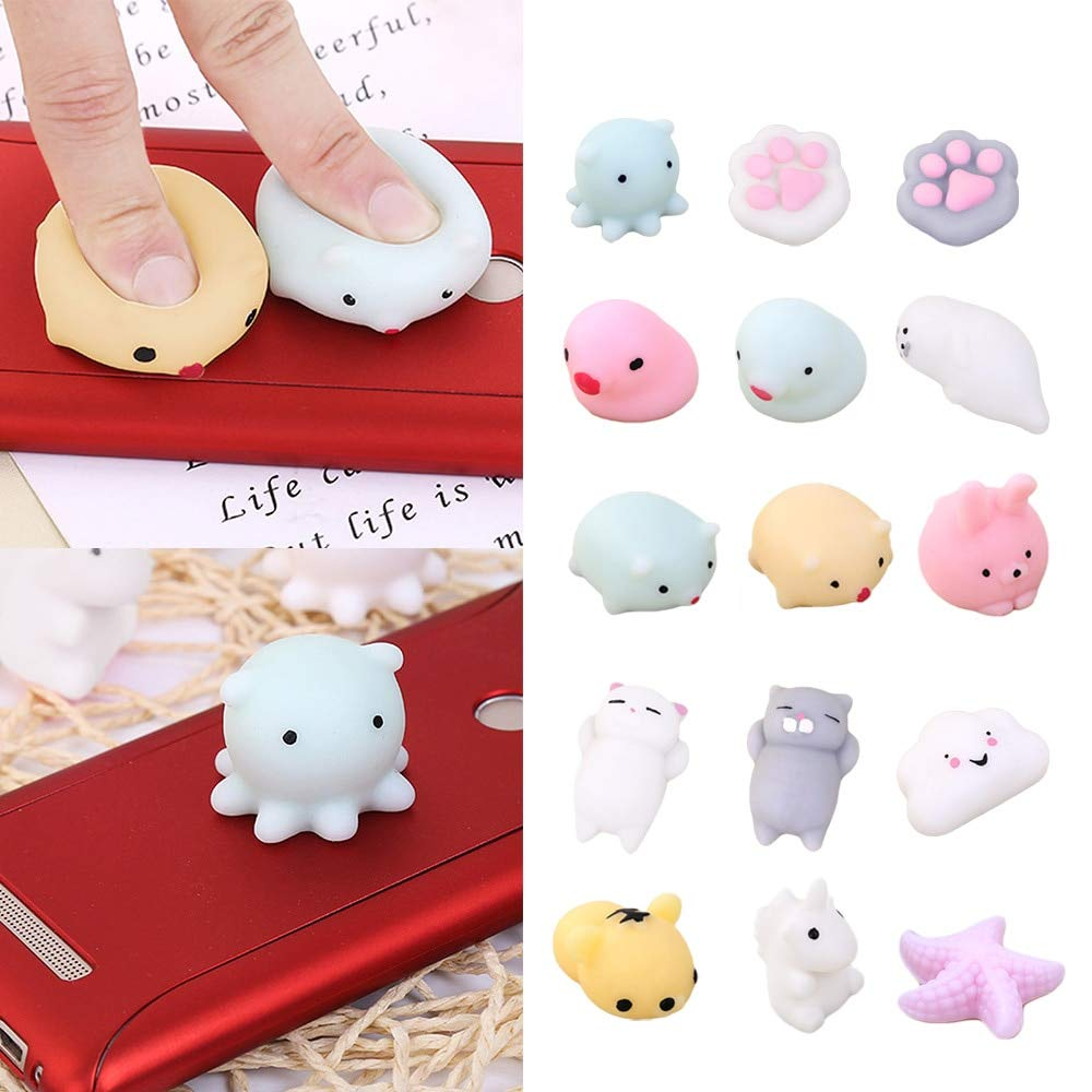LUCILAS 15 s Mochi Cut Cat Cartoon Animal Squishy Squeeze Squishies Toy Slow Rising for Adults Relieves Stress Anxiety