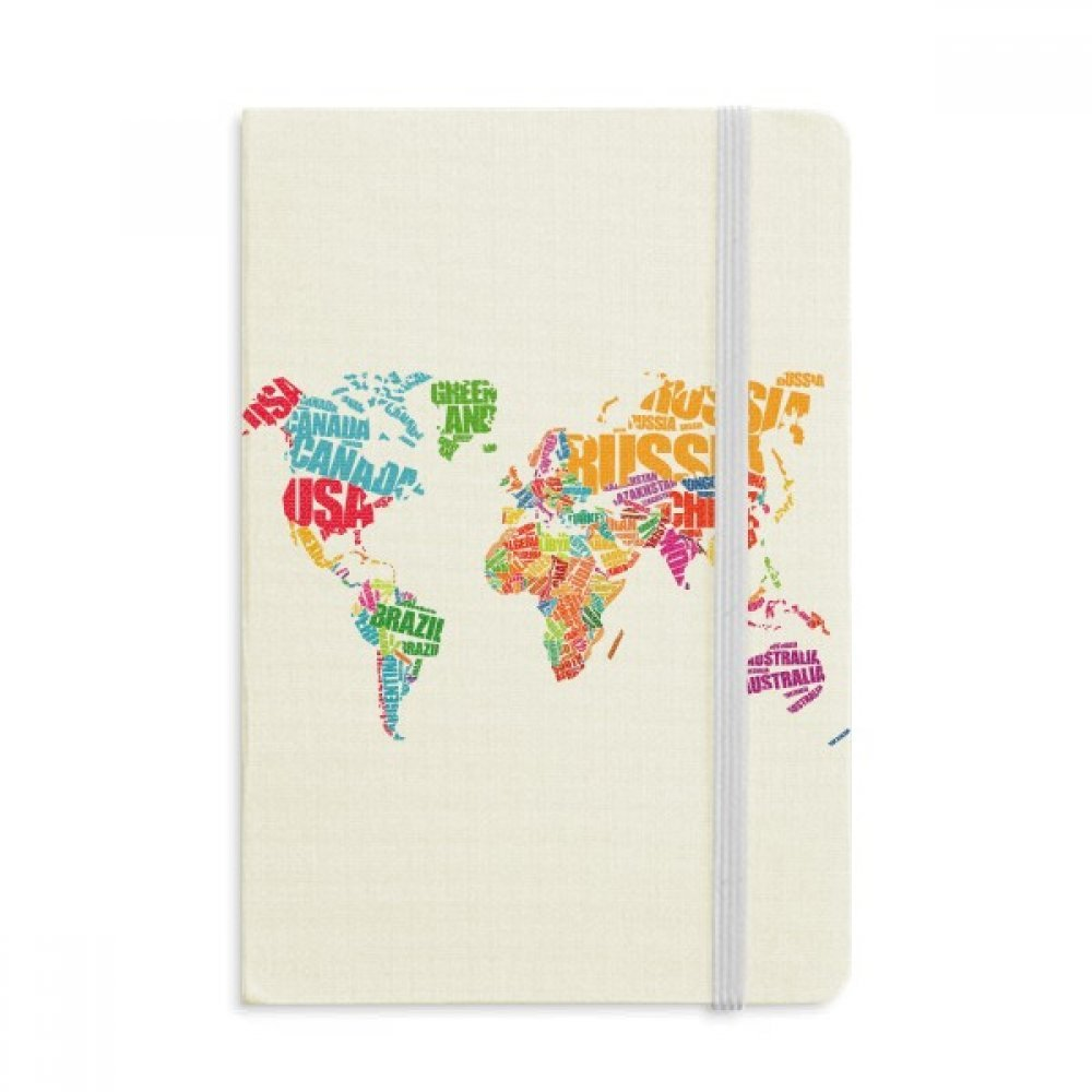DIYthinker Mutlicolour World Map Countries Name Notebook Fabric Hard Cover Classic Journal Diary A5 A5 Multicolor 144 X 210mm