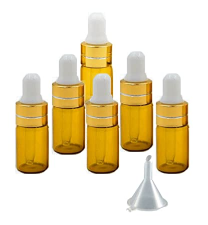 1760c441cd7b Grand Parfums 3ml Amber Glass Dropper Bottles with Gold Caps and White Bulb  for Essential Oil,...