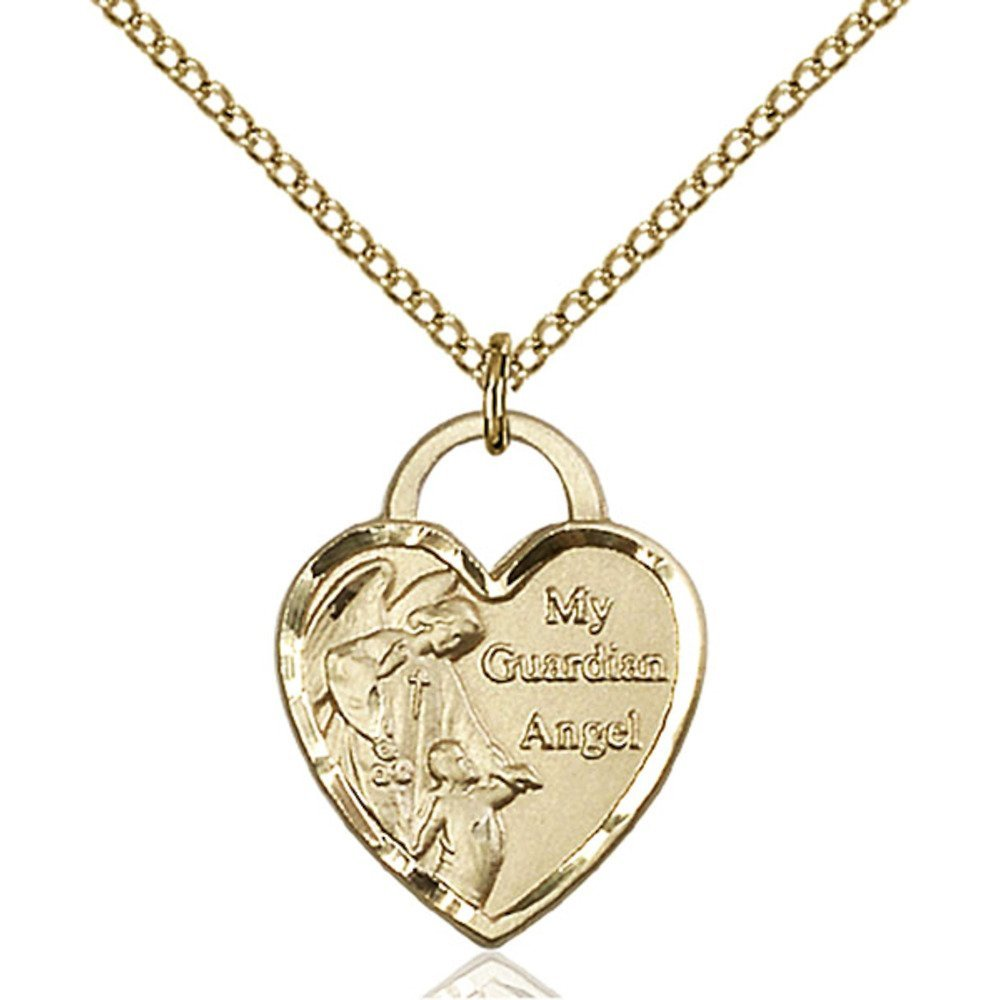 Gold Filled Guardian Angel Heart Pendant 3/4 x 5/8 inches with 18 inch Gold Filled Lite Curb Chain Bliss Manufacturing 3202GF/18GF