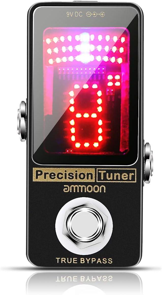 ammoon Pedal de Afinador, Pantalla LED de Pedal Sintonizador de Precisión, para Guitarra, Bajo y la Mayoría de Afinación de Instrumentos Musicales