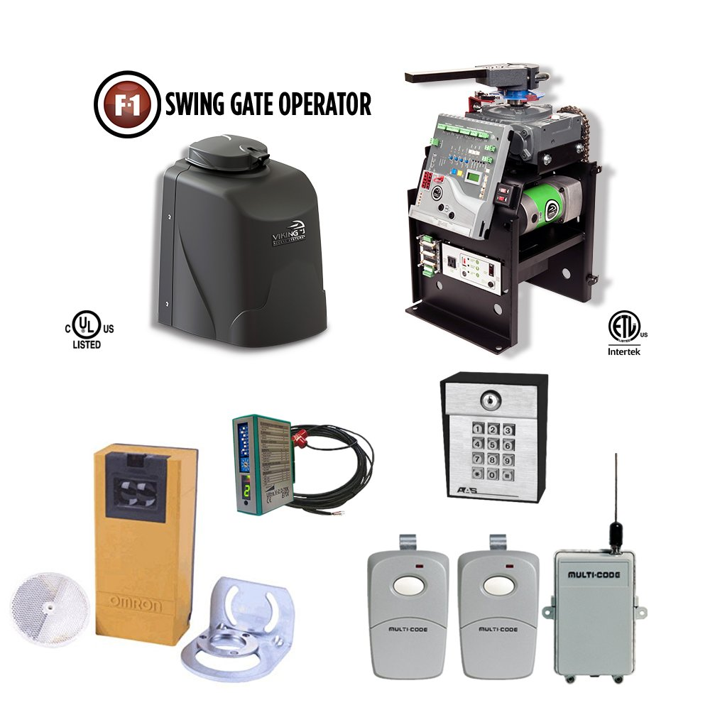 Viking F1 Commercial Swing Gate Openers, Safety PhotoCell, Receiver, Transmitter, Keypad & Exit Wand