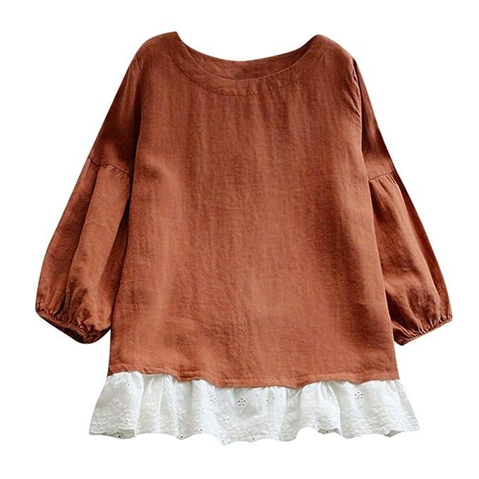 Blusa Larga de Mujer Manga Larga del Remiendo del Cordón Ocasional de Las Señoras Camiseta Tops de Otoño ❤ Manadlian: Amazon.es: Ropa y accesorios
