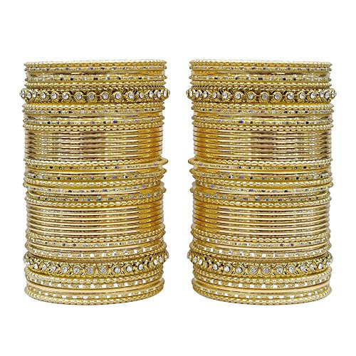 MUCH-MORE 86 Bangles Set of Multi Colour Amazing Collection of Bangles Set for Womens (Golden, 2.6) by MUCH-MORE