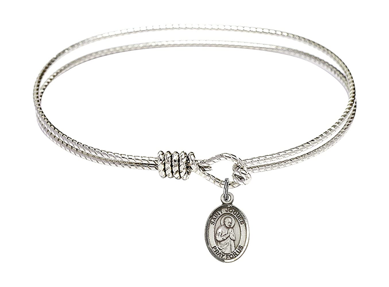 St Isaac Jogues Charm On A 7 1//4 Inch Oval Eye Hook Bangle Bracelet