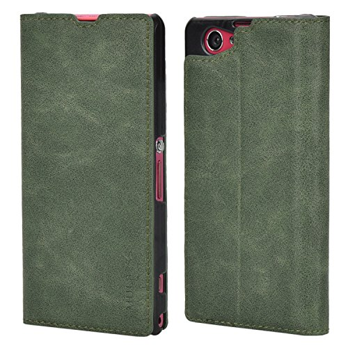 Sony Z1 Compact Case,Mulbess PU Leather Wallet Case With Kick Stand for Sony Xperia Z1 Compact,Green