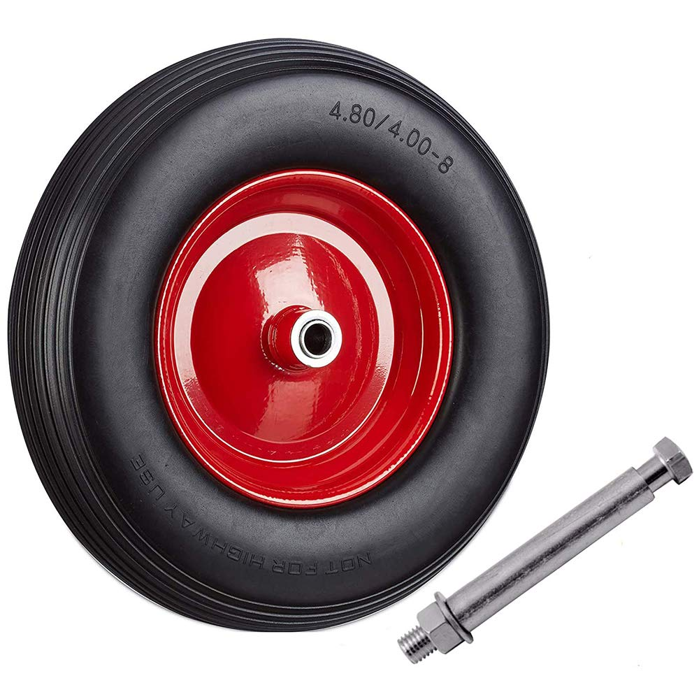 Puncture Proof Wheelbarrow PU Luggage Wheel 90*26mm Complete with AXLE