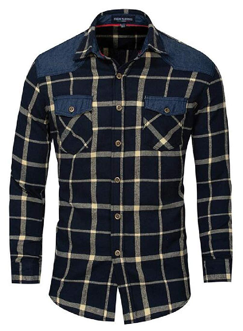 YYG Men Plaid Printed Flannel Button Up Washed Denim Casual Long Sleeve Shirt Top