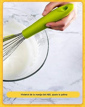 Amazon.com: FLB Batidor de huevo de silicona diseño humanizado batidor de huevo de Acero inoxidable licuadora casera para hornear herramienta de raspado de ...