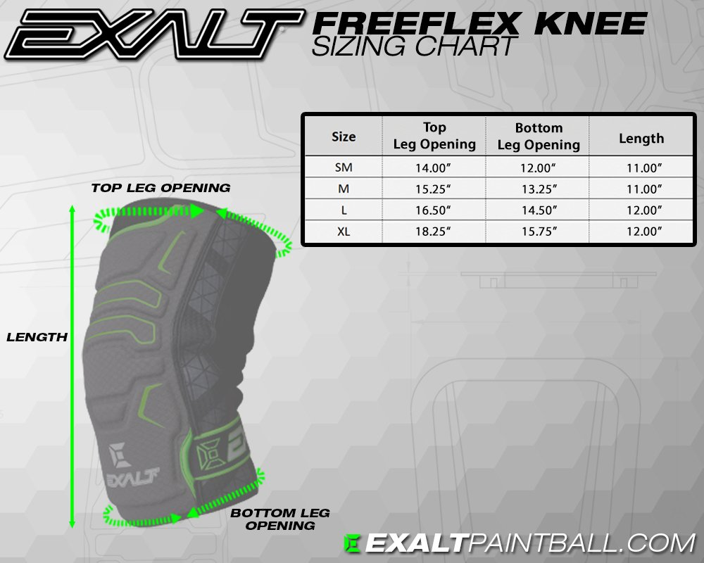 Exalt Paintball FreeFlex Knee Pads - Black - Large by Exalt