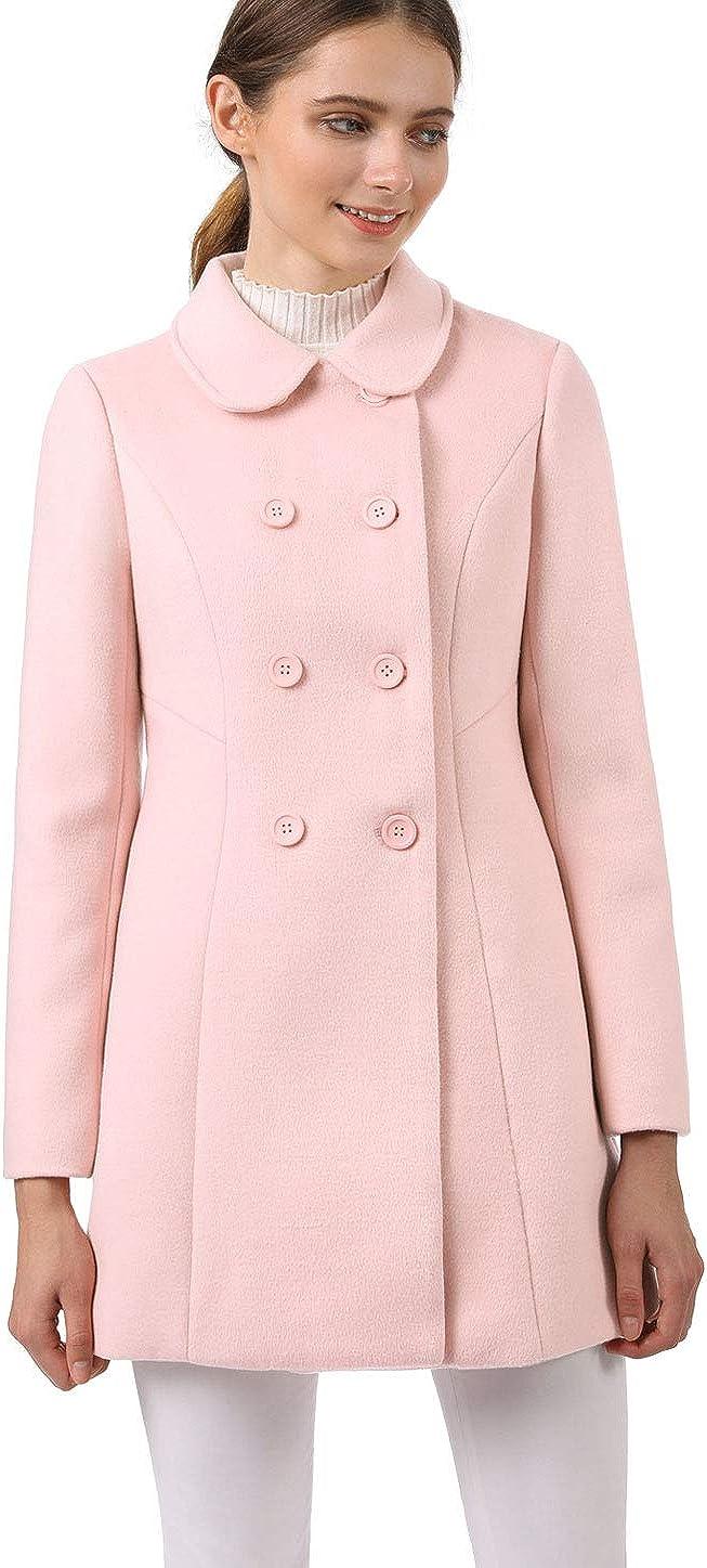 Allegra K Women's Peter Pan Collar Double Breasted Winter Long Trench Pea Coat