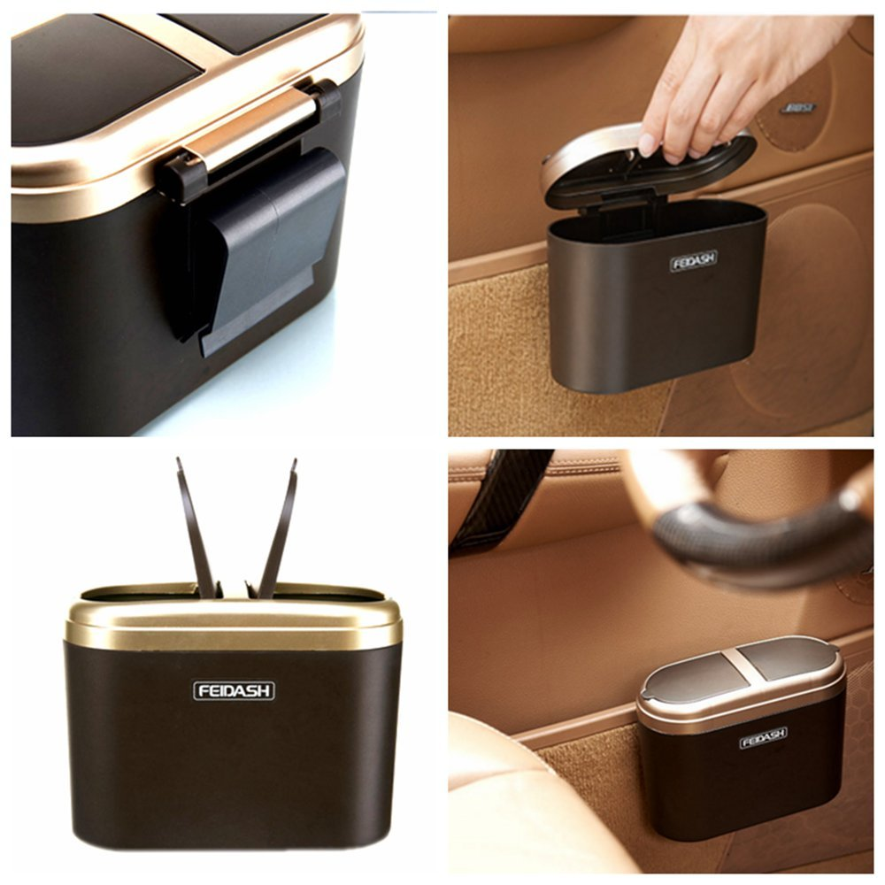 Golden Essential Mart Clamshell Lid Mini Car Garbage Can Hanging Trash Can Universal Auto Trash Bag for Litter Phone 1L // 0.35 Gal Purse