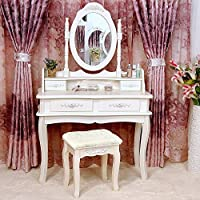 Tribesigns Makeup Vanity Table Set Bedroom Dressing Table with Stool and  Mirror  1 Mirror   4 Drawer. Amazon com  Makeup   Vanities   Vanity Benches   Bedroom Furniture